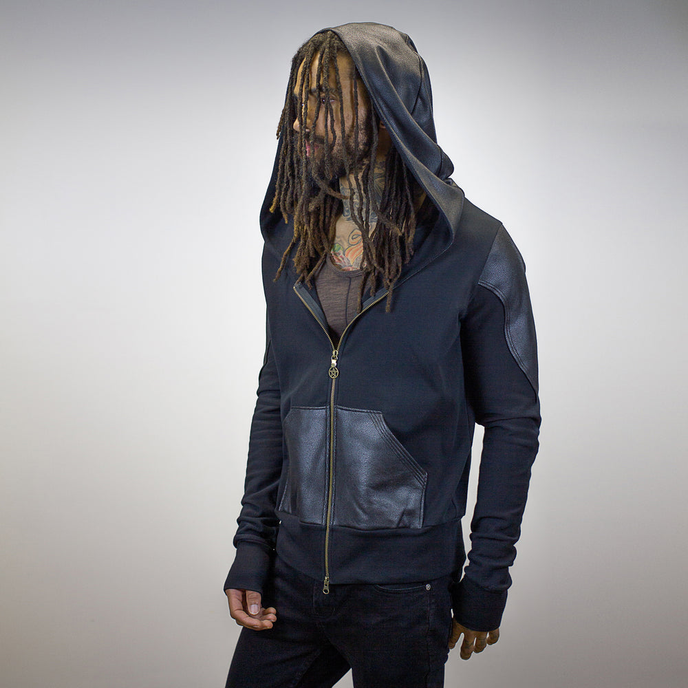 Zip-Up Doomlord Hooded Sweatshirt / Faux Leather Detail, Men's