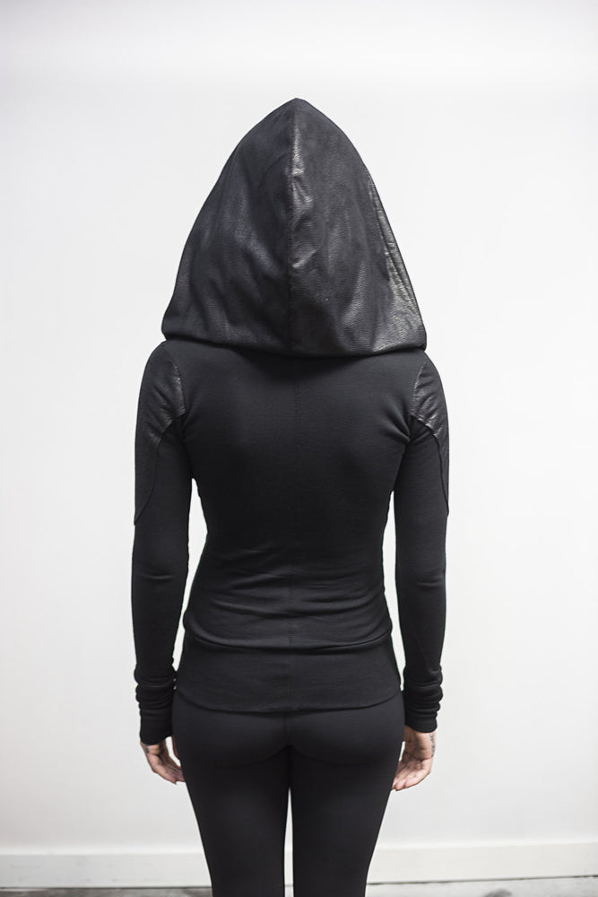 Size 4: Doomlord hoodie-zipup-faux leather detail