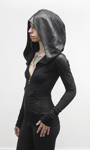 Doomlord hoodie-zipup-faux leather detail