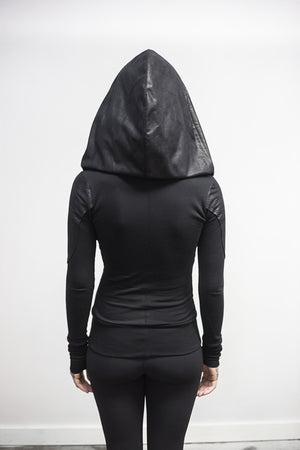 Doomlord hoodie-pullover-faux leather detail