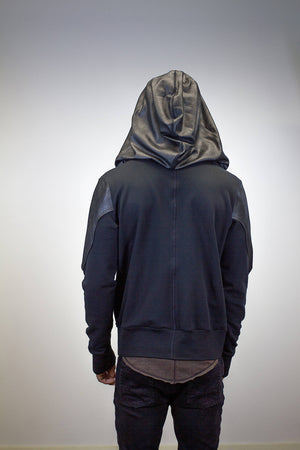 Pullover Doomlord Hooded Sweatshirt / Faux Leather Detail, Men's