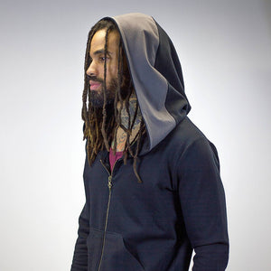 Zip-Up Doomlord Hooded Sweatshirt / Grey Trim Detail, Men's