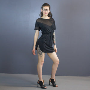 Aiden curved hem mini dress - mesh detail