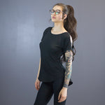 Size 6 Lecia open shoulder tee, black
