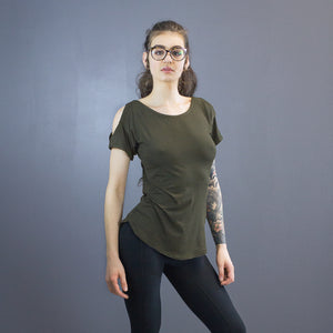 Size 2 Lecia open shoulder tee, olive drab