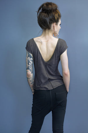 Rowen open back tee - musk dyed
