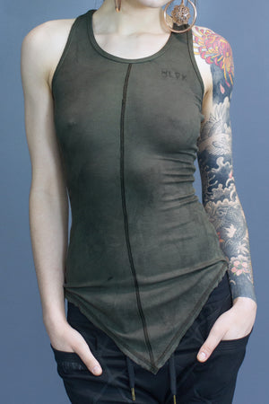Ellis pointed hem tank - olive dyed