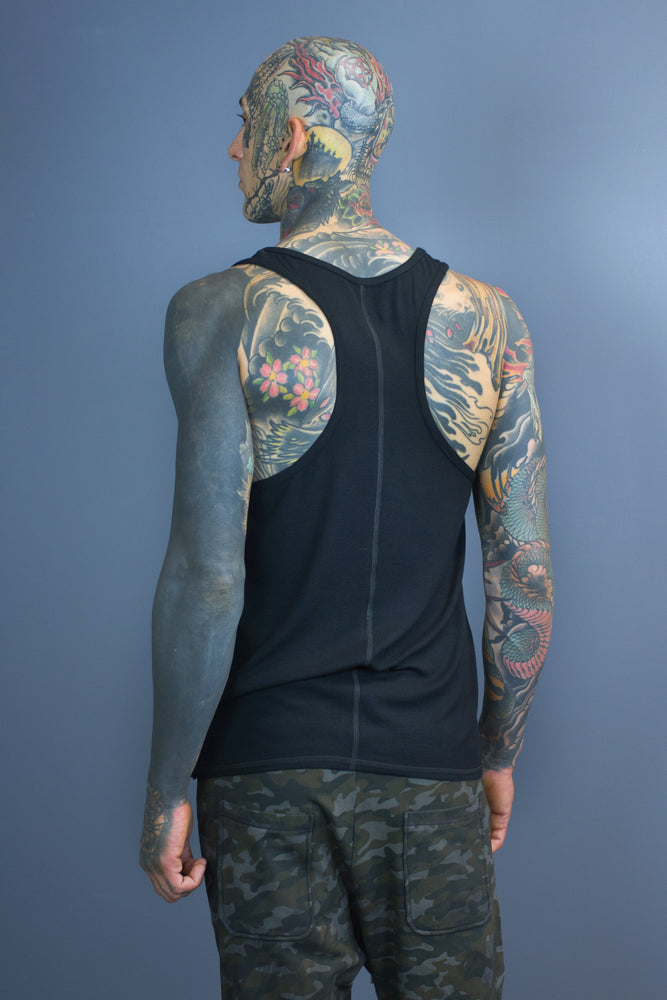 Dante straight hem tank - black