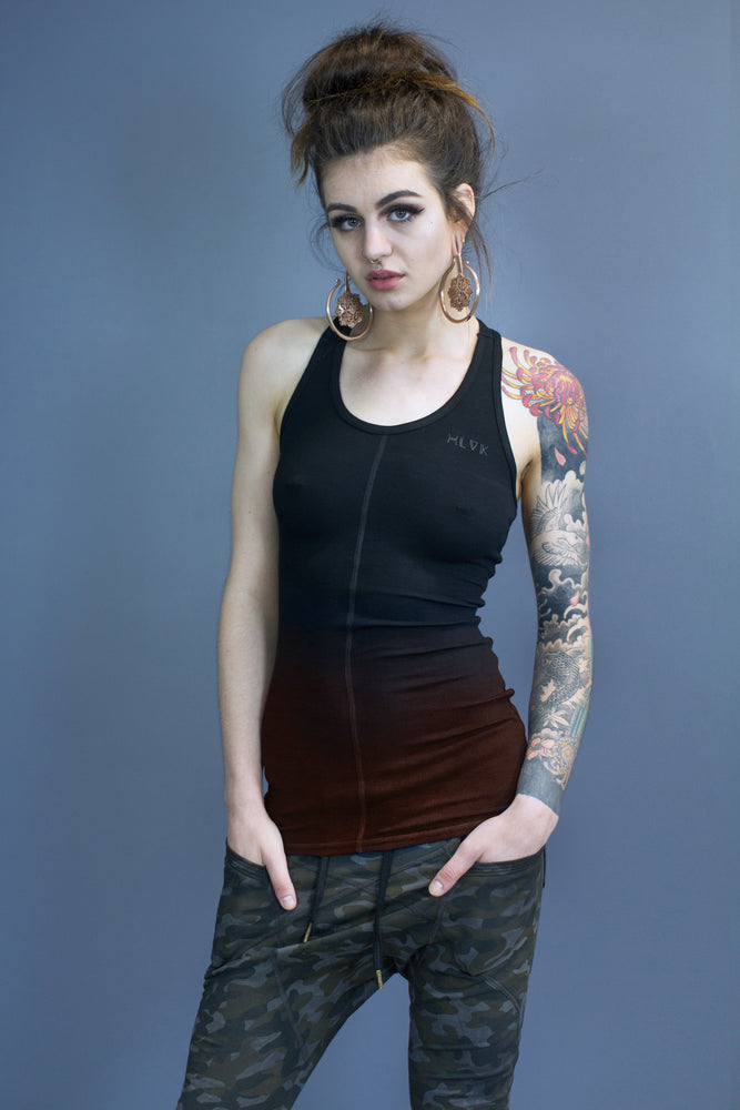 Marley straight hem tank - black gradient