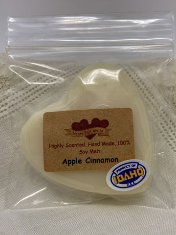 APPLE CINNAMON - Premium Scented 1oz Soy Heart Melt