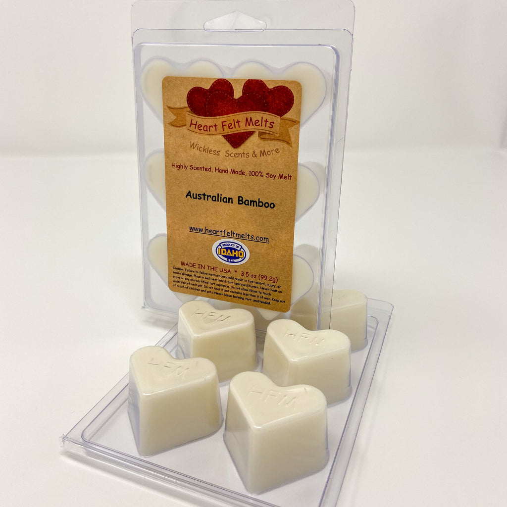 AUSTRALIAN BAMBOO - Premium Scented Clamshell Heart Melts