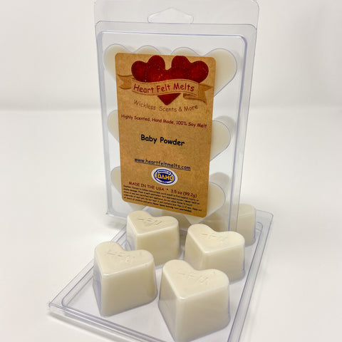 BABY POWDER - Premium Scented Clamshell Heart Melts