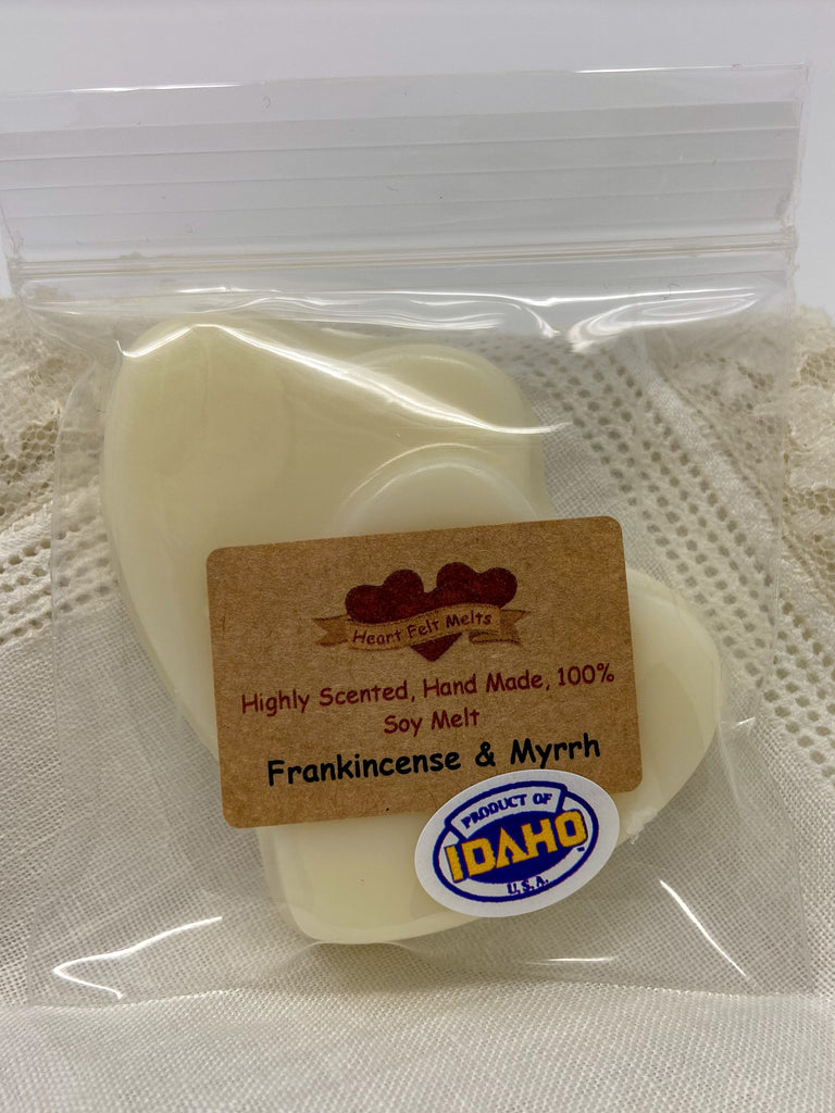 FRANKINCENSE AND MYRRH - Premium Scented 1oz Soy Heart Melt