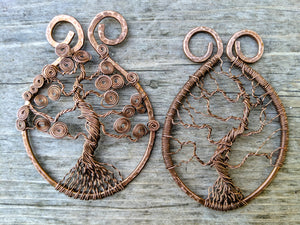 Copper shawl pins in a tree design