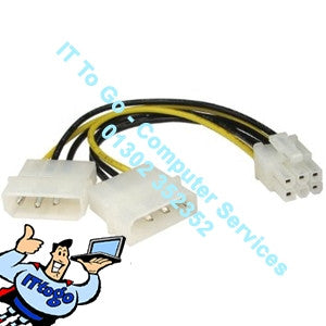 2x Molex - 6 Pin Graphics Card Converter Cable - IT To Go - Computer Services