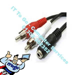 2x Phono Male to 3.5 Female Stereo Cable - IT To Go - Computer Services