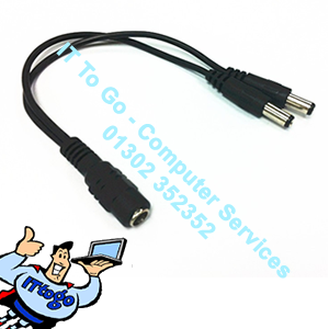 Standard CCTV DC Power Splitter 1x 12v DC - 2x 12v DC Cable - IT To Go - Computer Services
