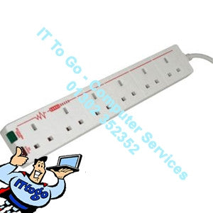 6 Socket 1m Surge Mains Extension Socket (Switched) - IT To Go - Computer Services