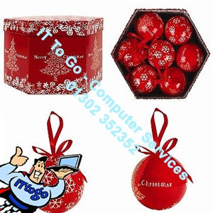 Red Merry Christmas 14 Baubles in Box - IT To Go - Computer Services