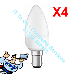 4x Pifco B22 Candle Led 425 Lumen Bulbs - IT To Go - Computer Services