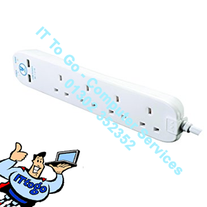 Pifco 4 Socket 2m Mains Extension Socket With USB - IT To Go - Computer Services