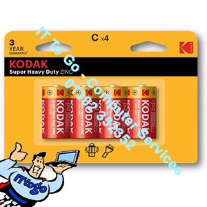 4x Kodak Super Heavy Zinc C Batteries 3 Year Guarantee