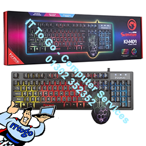Marvo Scorpion KM409 7 Colour Rainbow LED USB Gaming Keyboard & Mouse Set