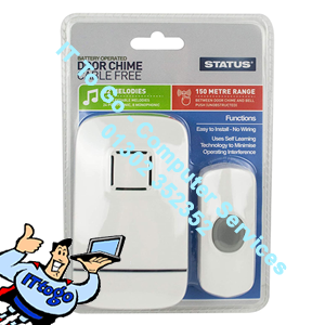 Status Plug In Door Chime Cable Free 2032 Battery Included