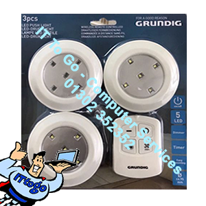 3x Grundig Led Push Light 1x Remote Inc Dimmer - IT To Go - Computer Services