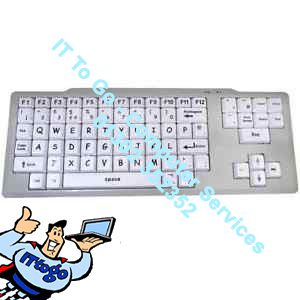 "Large 1"" Key USB Keyboard (KB) In White, - Kids / Elderly - IT To Go - Computer Services"