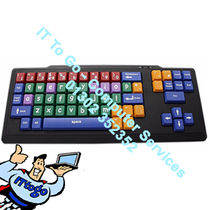 "Large 1"" Key USB Keyboard (KB) In Black, with Colour Coding & Lowercase - Kids / Elderly - IT To Go - Computer Services"