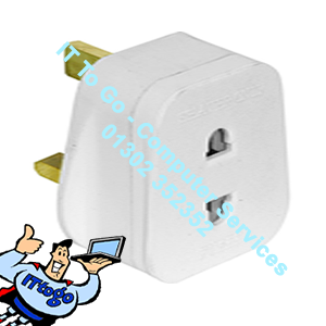 Shaver Plug Adaptor To Mains Plug Splitter - IT To Go - Computer Services
