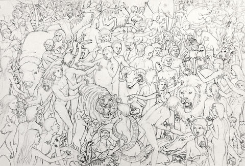 "Preliminary Drawing for ""Not Exactly Peaceable Kingdom"""