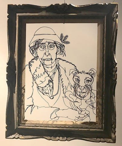 Portrait of an Aging Aristocrat Holding a Fox Terrier While Wearing a Dead Fox