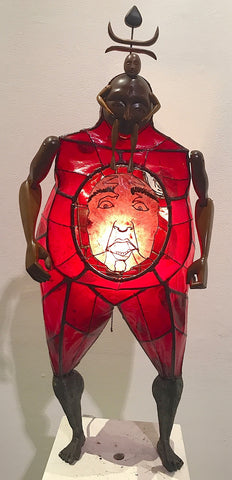 Red Lamp with Face on Chest