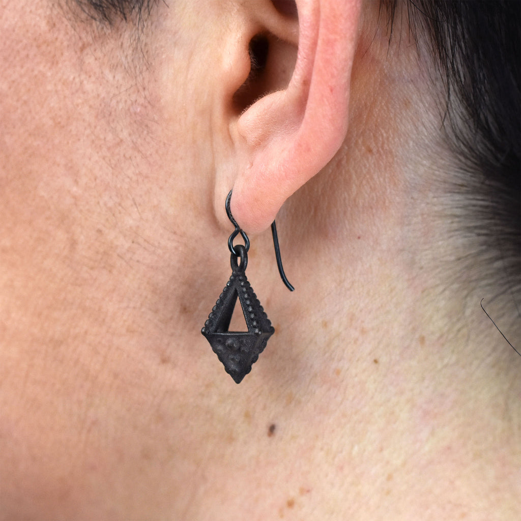 Emira Pyramid Drop Earrings Steel