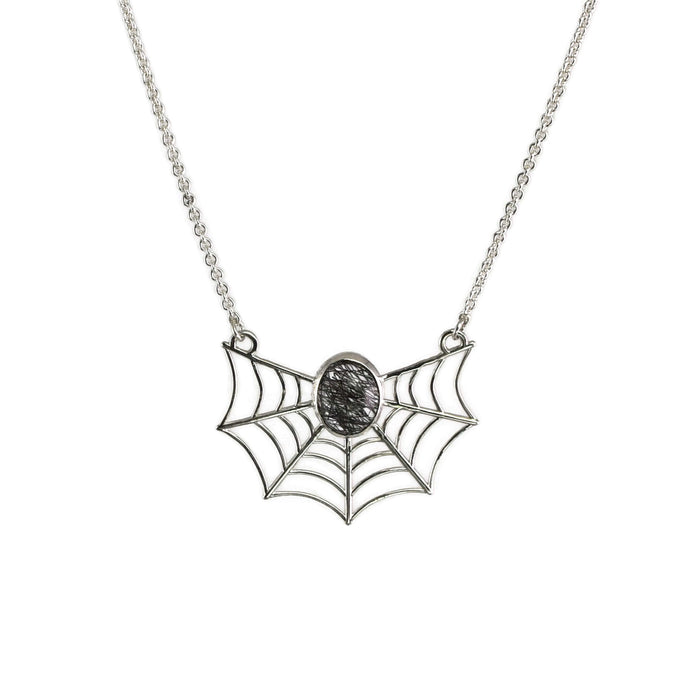 Spiderweb Necklace - Tourmalated Quartz