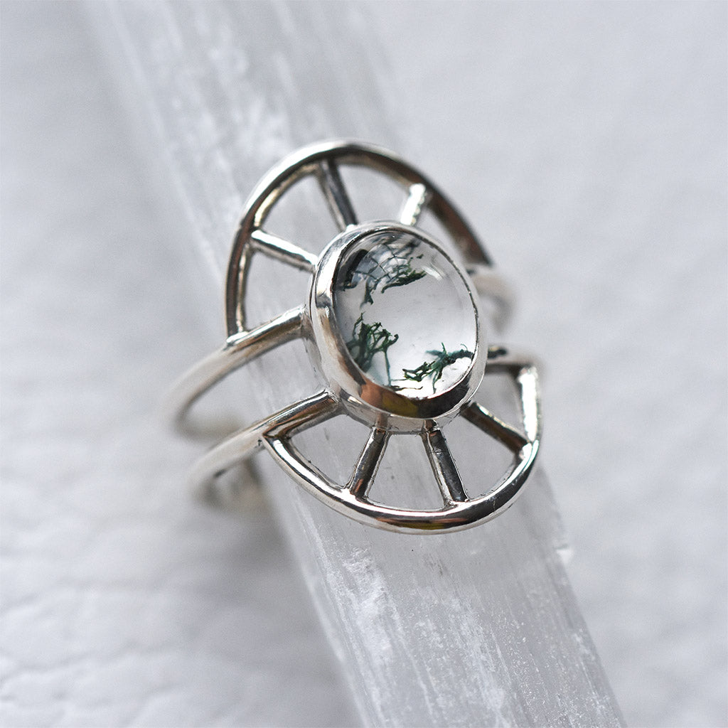 Priestess Ring No. 1 -- Silver and Moss Agate