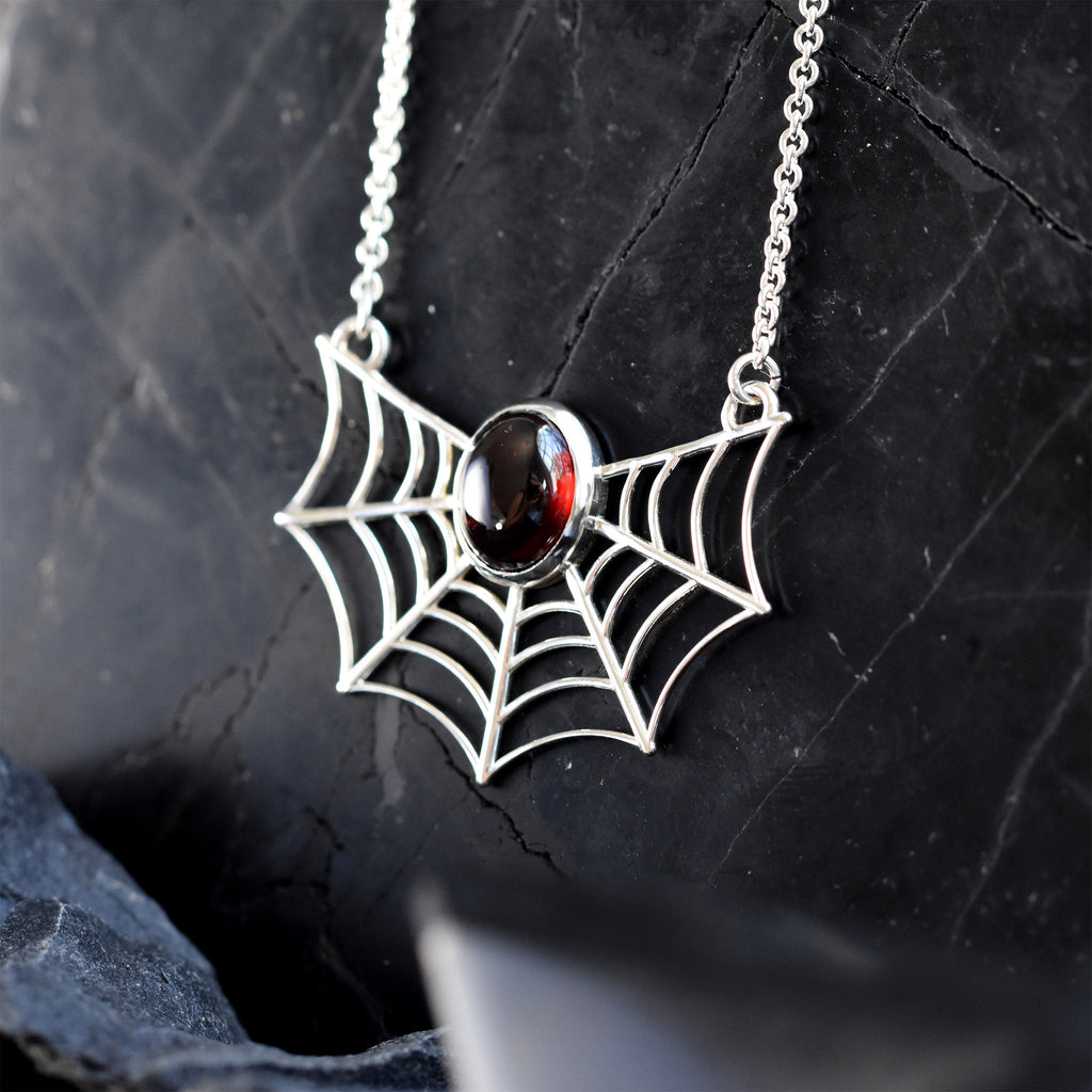 Spiderweb Necklace - Garnet