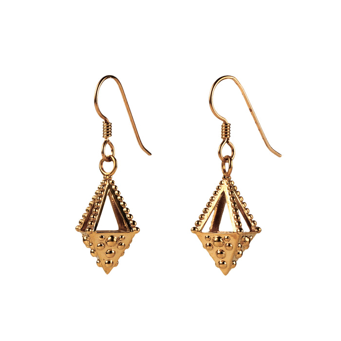 Emira Pyramid Drop Earrings Bronze
