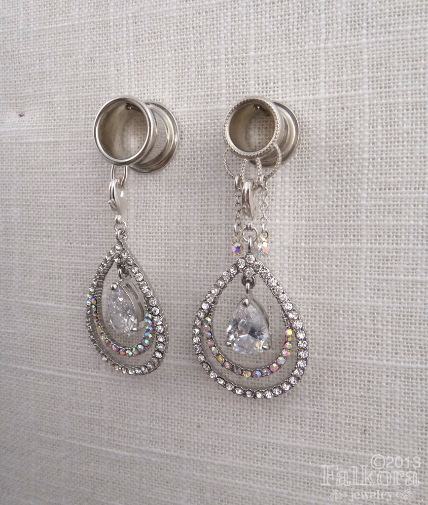 Wedding Plugs Dangle Tunnels with Rhinestone Teadrops