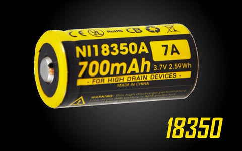 NITECORE IMR 18350 BATTERY 700MAH 3.7V - RECHARGEABLE BATTERY