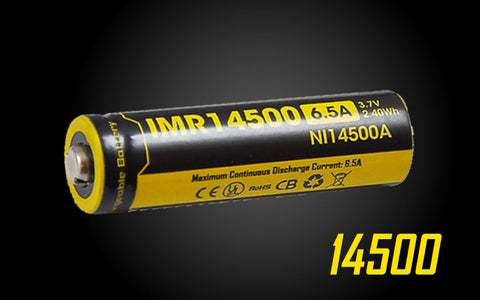 NITECORE IMR 14500 BATTERY 650MAH 3.7V - RECHARGEABLE BATTERY