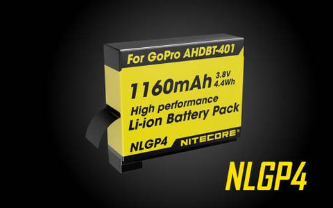 NITECORE NLG4 BATTERY 1160MAH 3.8V - RECHARGEABLE FOR GOPRO HERO4 [AHDBT-401]