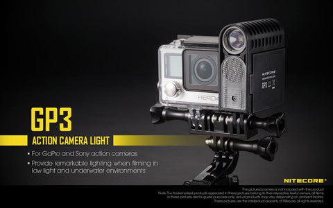 NITECORE USB RECHARGEABLE GOPRO CAMERA LIGHT GP3 360 LUMEN CREE XP-G2 LED
