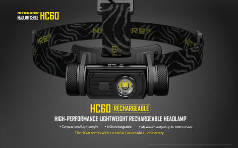 NITECORE HC60 1000 LUMEN RECHARGEABLE LED HEADLAMP WITH 3400MAH 18650 BATTERY