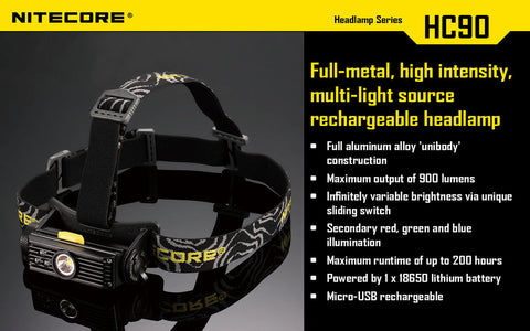 NITECORE HC90 900 LUMEN CREE XM-L2 LED RECHARGEABLE HEADLAMP