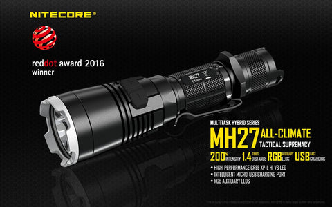 NITECORE MH27 1000 LUMEN USB RECHARGEABLE LED FLASHLIGHT W/ RED, BLUE, & GREEN LEDS