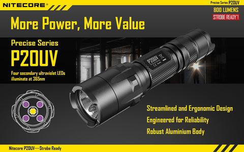 NITECORE P20UV 800 LUMEN FLASHLIGHT W/ BUILT-IN UV BLACK LIGHT