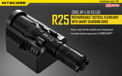 NITECORE R25 800 LUMEN RECHARGEABLE TACTICAL LED FLASHLIGHT W/ CHARGING DOCK